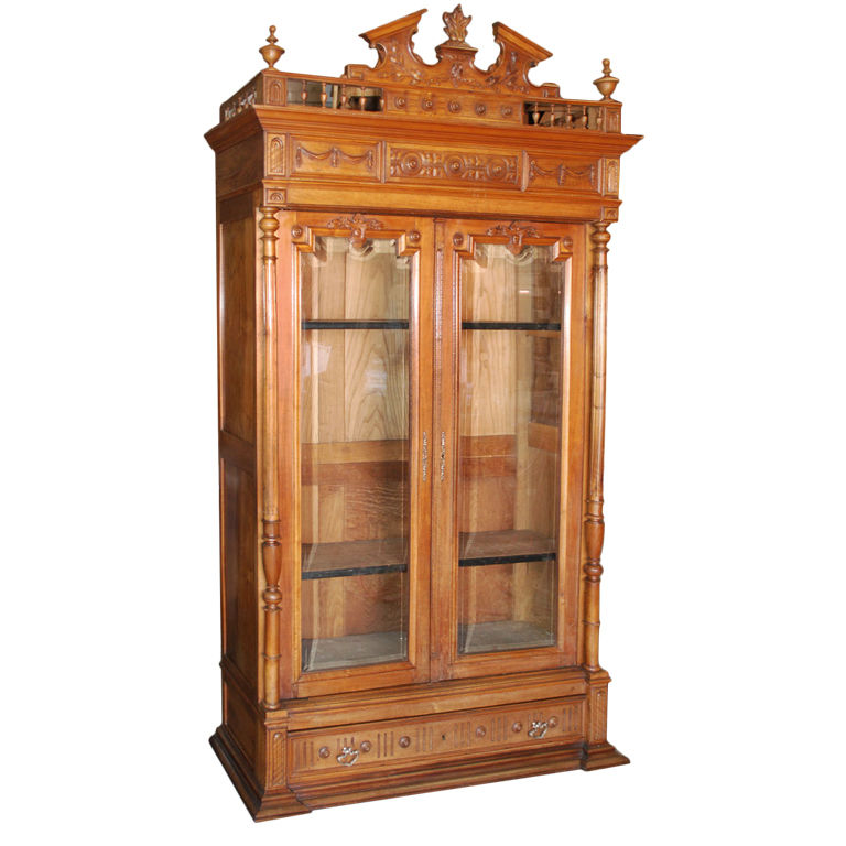 Antique Wooden Bookshelf ~ Petersen antiques ornate cherry wood bookcase
